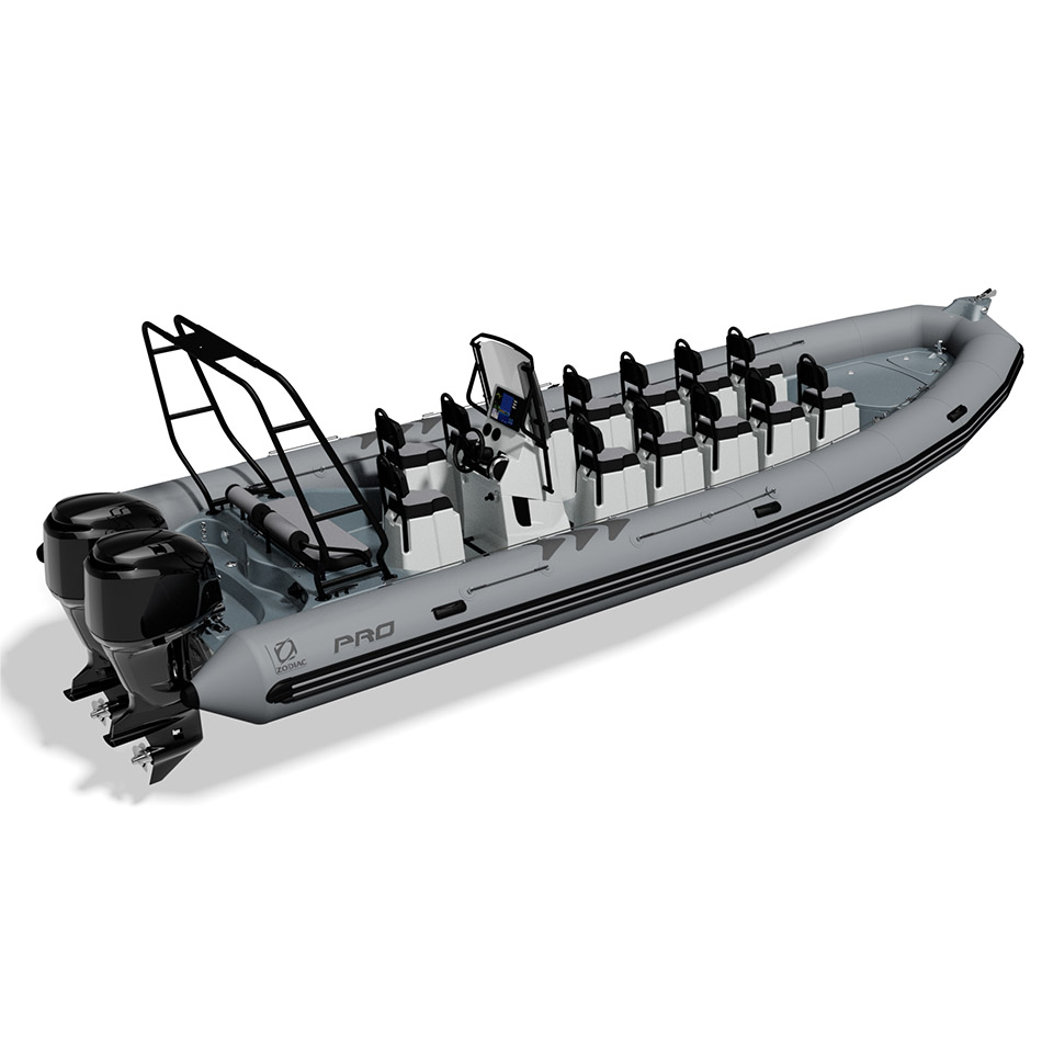 Grey Zodiac Pro 850 boat with tow tower and group seating